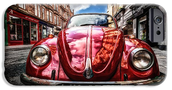 Hdr Look iPhone Cases - Classic VW on a Glasgow Street iPhone Case by John Farnan