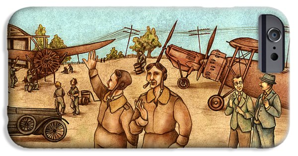 Large Drawings iPhone Cases - Classical Planes 2 iPhone Case by Autogiro Illustration