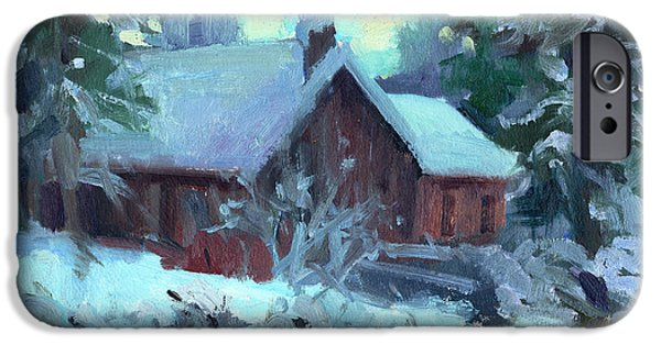 Snow Scene iPhone Cases - Cle Elum Cabin iPhone Case by Diane McClary