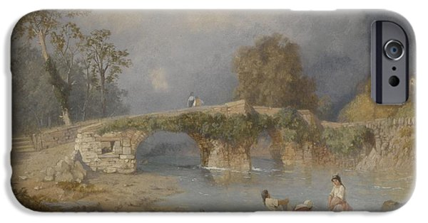 Nineteenth iPhone Cases - Clearing up for Fine Weather Beddgelert North Wales 1867 iPhone Case by James Baker Pyne