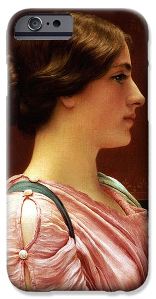 Woman In A Dress iPhone Cases - Cleonice iPhone Case by John William Godward