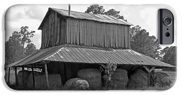 Old Barn Poster Photographs iPhone Cases - Clewis Family Tobacco Barn in Black and White iPhone Case by Suzanne Gaff