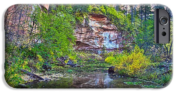 West Fork iPhone Cases - Cliff Reflecting iPhone Case by Brian Lambert