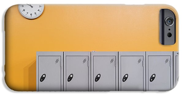Work Tool iPhone Cases - Clock On An Orange Wall Above Lockers iPhone Case by Iain  Sarjeant