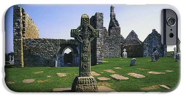 Headstones iPhone Cases - Clonmacnoise, Co Offaly, Ireland, West iPhone Case by The Irish Image Collection