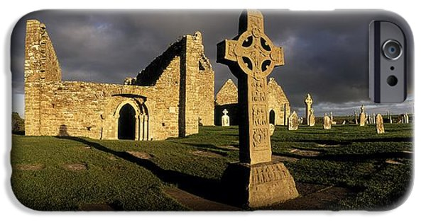 Headstones iPhone Cases - Clonmacnoise Monastery, Co Offaly iPhone Case by The Irish Image Collection