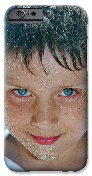 Old Blue Eyes iPhone Cases - Close Up Of Boy Covered In Sand iPhone Case by Michelle Quance