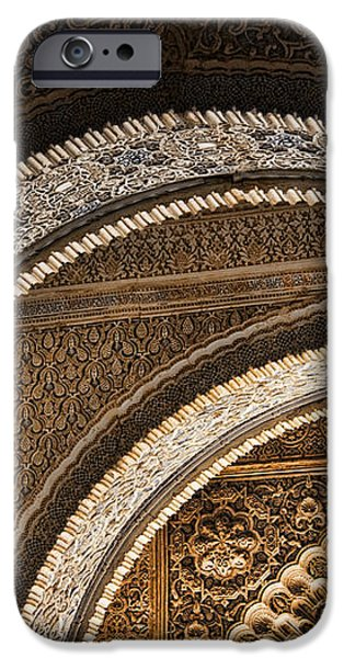 Close-up view of Moorish arches in the Alhambra palace in Granad iPhone Case by David Smith