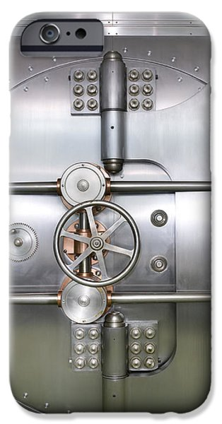Closed Door to a Bank Vault iPhone Case by Adam Crowley