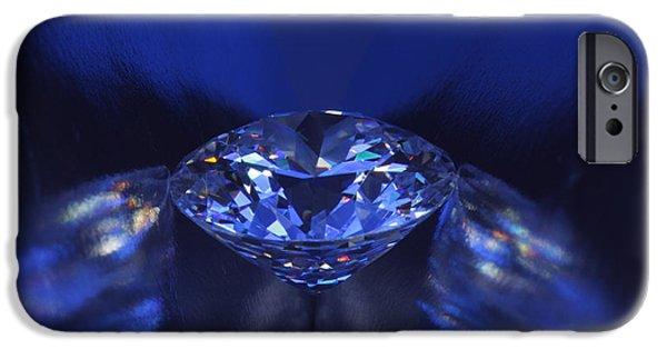 Stones Jewelry iPhone Cases - Closeup blue diamond in blue light. iPhone Case by Atiketta Sangasaeng
