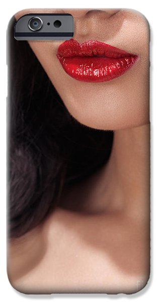 Chin Up Photographs iPhone Cases - Closeup of woman red lips iPhone Case by Oleksiy Maksymenko