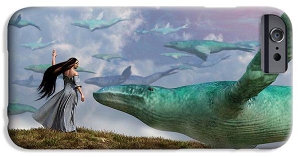 Whale Digital iPhone Cases - Cloud Whales iPhone Case by Daniel Eskridge