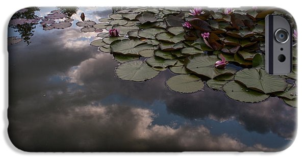 Water Lilly iPhone Cases - Clouded Pond iPhone Case by Mike Reid