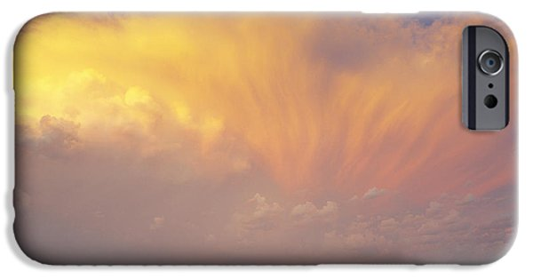 Canola Field iPhone Cases - Clouds Over Canola Harvest, Saint iPhone Case by Yves Marcoux