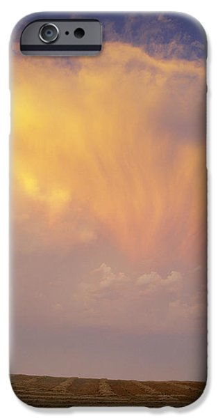 Clouds Over Canola Harvest, Saint iPhone Case by Yves Marcoux
