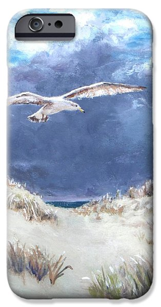 Jack Skinner Paintings iPhone Cases - Cloudy with a Chance of Seagulls iPhone Case by Jack Skinner