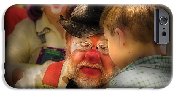Suspenders iPhone Cases - Clown - Face Painting iPhone Case by Mike Savad