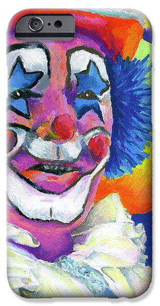 Children Pastels iPhone Cases - Clown with Balloons iPhone Case by Stephen Anderson