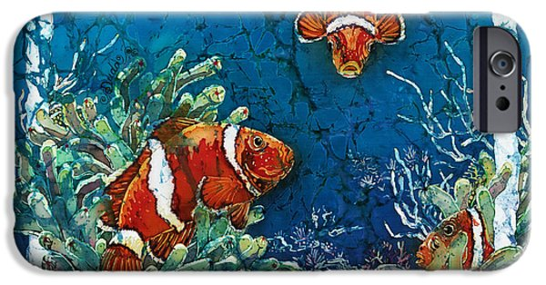 Ocean Tapestries - Textiles iPhone Cases - Clowning Around - Clownfish iPhone Case by Sue Duda