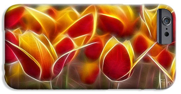 Morphed iPhone Cases - Cluisiana Tulips Fractal iPhone Case by Peter Piatt