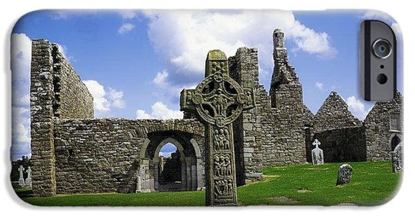 Cemetary iPhone Cases - Co Offaly, Clonmacnoise iPhone Case by The Irish Image Collection