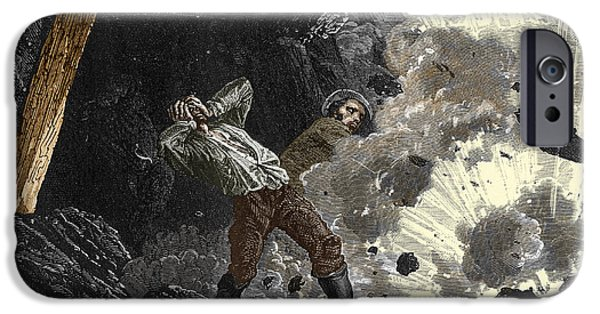 Working Conditions iPhone Cases - Coal Mine Explosion, 19th Century iPhone Case by Sheila Terry