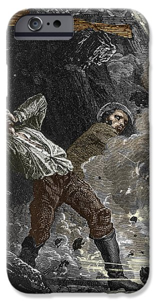 Coal Mine Explosion, 19th Century iPhone Case by Sheila Terry