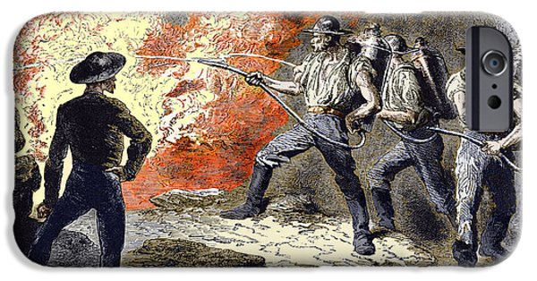 Working Conditions iPhone Cases - Coal Mine Fire, 19th Century iPhone Case by Sheila Terry