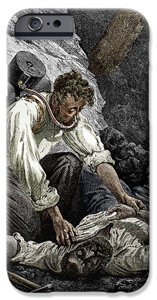Working Conditions iPhone Cases - Coal Mine Rescue, 19th Century iPhone Case by Sheila Terry