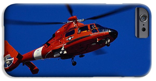 Law Enforcement iPhone Cases - Coast Guard Helicopter iPhone Case by Stocktrek Images