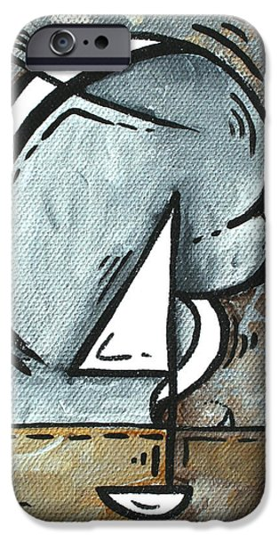 Coastal Art Contemporary Sailboat Painting Whimsical Design SILVER SEA I by MADART iPhone Case by Megan Duncanson