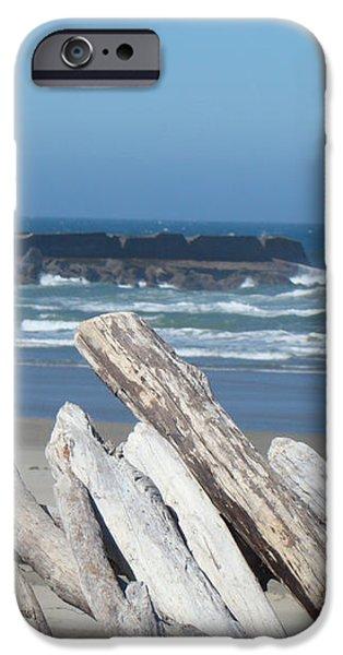 Coastal Driftwood art prints Blue Sky Ocean Waves iPhone Case by Baslee Troutman