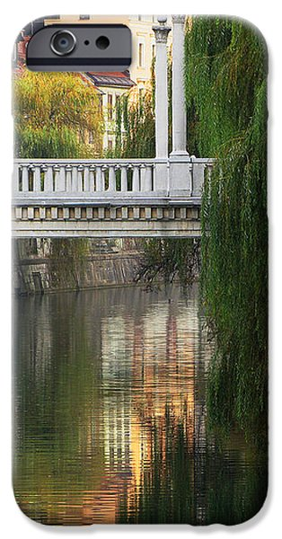 Cobblers Bridge and Morning Reflections in Ljubljana iPhone Case by Greg Matchick