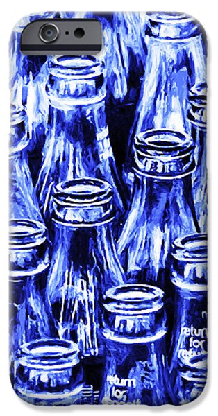 Coca-Cola Coke Bottles - Return For Refund - Square - Painterly - Blue iPhone Case by Wingsdomain Art and Photography