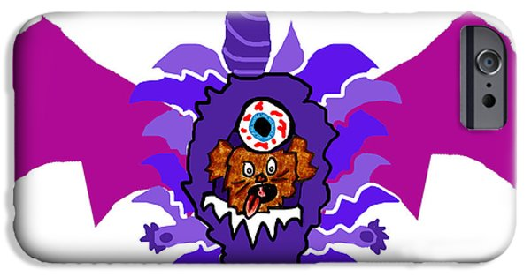 Puppy Digital Art iPhone Cases - Coco Purple People Eater Costume iPhone Case by Jera Sky