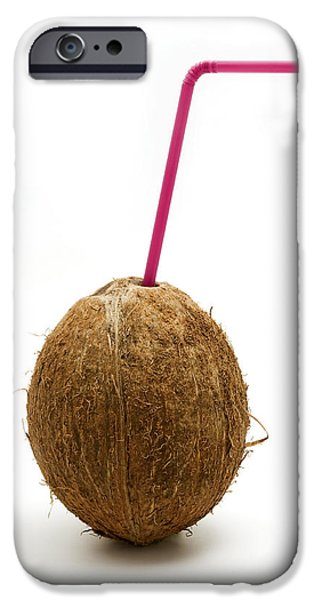 White Background iPhone Cases - Coconut with a straw iPhone Case by Fabrizio Troiani