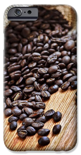 Bag iPhone Cases - Coffee beans iPhone Case by Elena Elisseeva