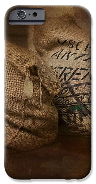 Coffee Beans in Burlap Bags iPhone Case by Susan Candelario