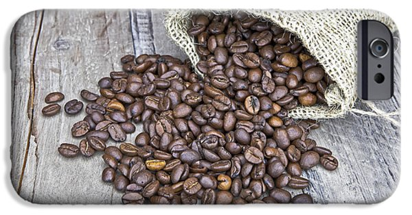 Coffee Drinking iPhone Cases - Coffee beans iPhone Case by Joana Kruse