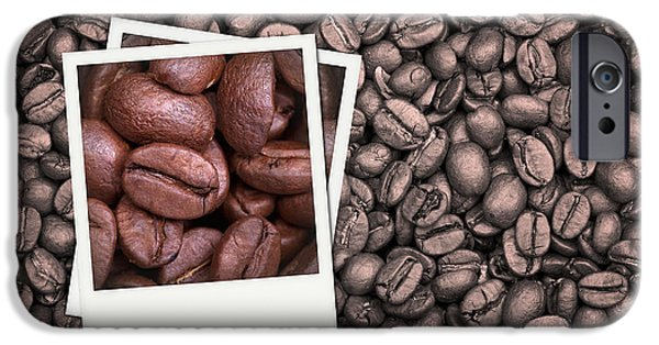 Old Photos iPhone Cases - Coffee beans polaroid iPhone Case by Jane Rix