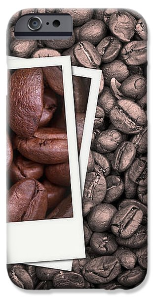 Coffee beans polaroid iPhone Case by Jane Rix