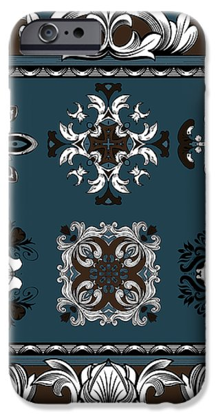Coffee Flowers Ornate Medallions 6 Piece Collage Mediterranean iPhone Case by Angelina Vick