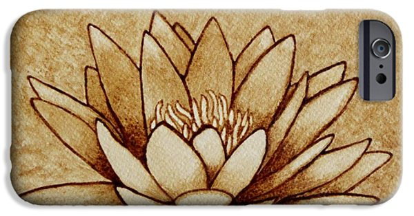 Water Lilly iPhone Cases - Coffee painting Water Lilly Blooming iPhone Case by Georgeta  Blanaru