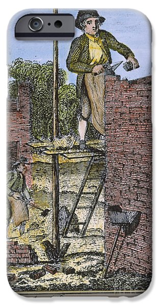 Colonial Man iPhone Cases - COLONIAL BRICKLAYER, 18th C iPhone Case by Granger