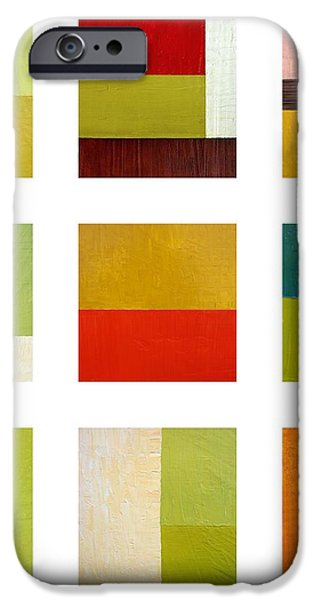 Color Study Abstract Collage iPhone Case by Michelle Calkins