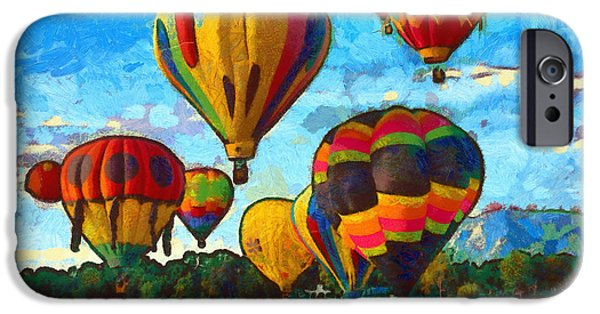 River Mixed Media iPhone Cases - Colorado Springs Hot Air Balloons iPhone Case by Nikki Marie Smith