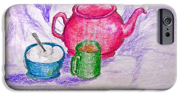 Photomanipulation Drawings iPhone Cases - Colorful Coffee iPhone Case by Debbie Portwood