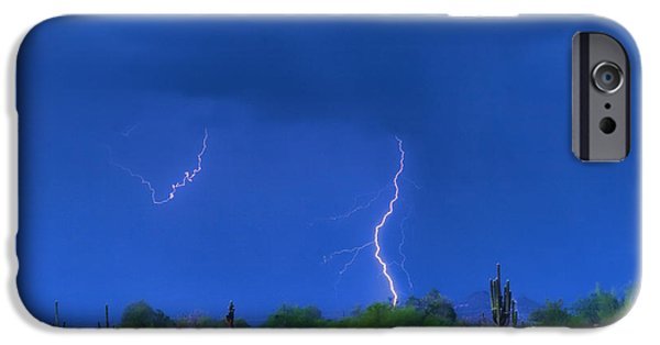 Lightning Images iPhone Cases - Colorful Desert Storm iPhone Case by James BO  Insogna
