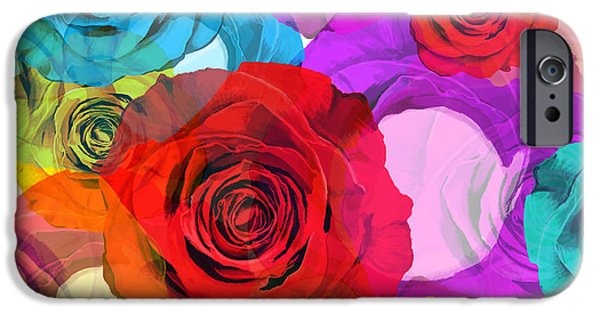 Framed Digital iPhone Cases - Colorful Floral Design  iPhone Case by Setsiri Silapasuwanchai
