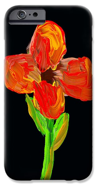 Bloosom iPhone Cases - Colorful Flower Painting On Black Background iPhone Case by Keith Webber Jr